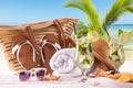 Picture sea, beach, stay, towel, glasses, lime, summer, bag, beach, sea, sand, paradise, mojito, cocktail, Mojito, ...