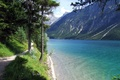 Picture grass, water, trees, lake, shore, mountain, trail