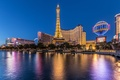 Picture USA, pond, night, tower, Las Vegas, lights, Eiffel tower, home
