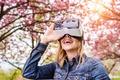Picture woman, virtual reality, park