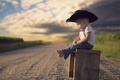 Picture bokeh, road, child, hat, boy