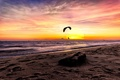 Picture sea, the sky, sunset, paraglider