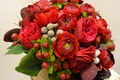 Picture flowers, red, berries, bouquet, wedding