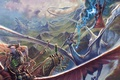 Picture the sky, mountains, magic, lightning, elf, Dragon, bow, battle
