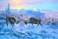 Picture animals, moose, mountains, snow, fight, winter, Painting, horns, deer, forest