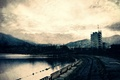 Picture city, pond, mountains, road, structure