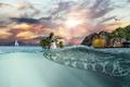 Picture sunset, rocks, crocodile, fantasy, huge, sea, surfer, Seagull, horizon, waterfall, skydivers, yacht, the sky, creative