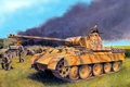 Picture field, fire, flame, smoke, art, Panther, soldiers, tank, German, Panther, Panzerkampfwagen, burning, German, T-34-76, The ...