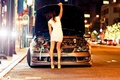 Picture lights, girl, on the street, machine, Lexus, road