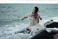 Picture violin, girl, sea