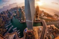 Picture the city, lights, dawn, height, skyscrapers, Dubai, UAE, panorama