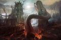 Picture the city, fiction, art, monsters, destruction, ruins, demons, by PeteAmachree, Demon Prince