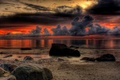Picture sea, the sky, shore, clouds, sunset