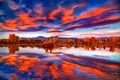 Picture autumn, the sky, clouds, trees, mountains, lake