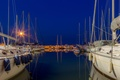 Picture yachts, boats, night, lights, Bay