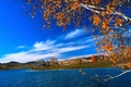 Picture tree, river, landscape, the sky, autumn, clouds, leaves