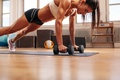 Picture fitness, pose, floor, dumbbells, workout
