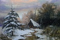 Picture picture, Khodukov, spruce, snowfall, road, painting, farm, pine, trail, tree, house, winter landscape, overcast