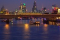Picture river, London, England, night, bridge, lights