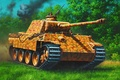 Picture war, art, painting, tank, ww2, Panzer V 'Panther' Ausf. D