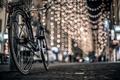 Picture bike, winter, road, the city, pavers, lights, street, bokeh, night, post