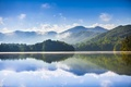 Picture forest, mountains, lake, reflection, morning