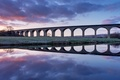 Picture morning, bridge, viaduct, reflection, England, UK, dawn, the sky, river, clouds