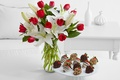 Picture chocolate, bouquet, strawberry, plate, tulips, red, vase, nuts, Lily white