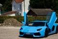 Picture paris, Lamborghini, supercar, Aventador, france, LP700-4, blue, Exotic