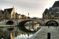 Picture bridge, river, pavers, Europe