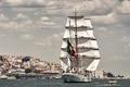 Picture river, sailboat, Portugal, Lisbon, Portugal, Lisbon, the Tagus river, bark, NRP Sagres III, Tagus River, ...