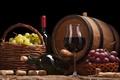 Picture wine, basket, grapes, tube, barrel, corkscrew