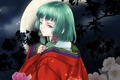 Picture flowers, Vocaloid, Vocaloid, kimono, the moon, girl, Gumi, night, green hair