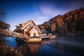 Picture At the water mill, pier, river, house, trees
