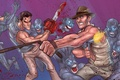 Picture Bruce Campbell, Indiana Jones, Ash Williams, evil dead, James Williams, zombies, crossover, ash, Harrison Ford