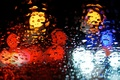 Picture water, drops, macro, blue, red, lights, background, rain, Wallpaper, wallpaper, widescreen, background, macro, bokeh, bokeh, ...