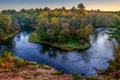 Picture hdr, trees, autumn, river, the evening, for, forest, USA