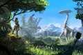 Picture The sky, Girl, Mountains, Robot, Trees, Bow, Hunter, PlayStation 4, Sony Computer Entertainment, Guerrilla Games, ...
