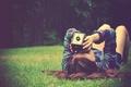 Picture greens, summer, grass, girl, nature, background, Wallpaper, mood, brunette, the camera, binoculars