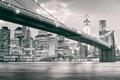Picture Manhattan, America, Black and White, Brooklyn Bridge, B/W, New York City, skyscrapers, East River, United ...