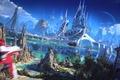 Picture futuristic world, sailboat, palace, sand, beach, suna, palm trees, Spaceship, river, rocks, vessel, bridge