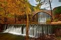 Picture Greece, bridge, waterfall, trees, autumn, Trikala, the sky, river