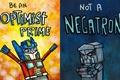 Picture figure, optimist, a pessimist, transformers, Optimus Prime, Megatron, humor