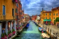 Picture boat, hdr, Italy, home, channel, Venice, the sky, clouds