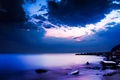 Picture night, coast, The ocean