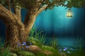 Picture tree, the evening, flowers, river, lantern