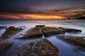 Picture the ocean, shore, rocks, landscape, sunset