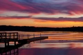 Picture the sky, clouds, trees, sunset, lake, reflection, the evening, USA, the bridge