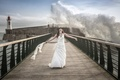Picture lighthouse, sea, wave, bridge, girl