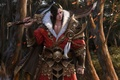 Picture forest, leaves, trees, weapons, sword, art, fur, armor, guy, in red, brush, Asian, choi keun ...
